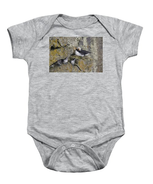 Least Auklets Perched On A Narrow Ledge Baby Onesie by Milo Burcham