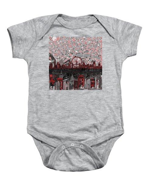 London Skyline Abstract 6 Baby Onesie by Bekim Art