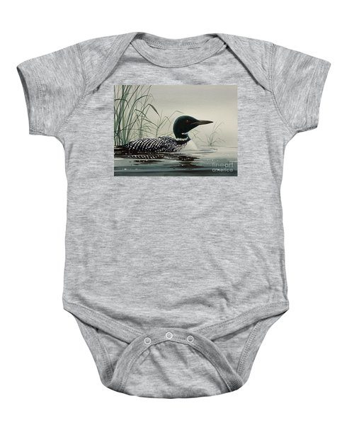 Loon Near The Shore Baby Onesie by James Williamson