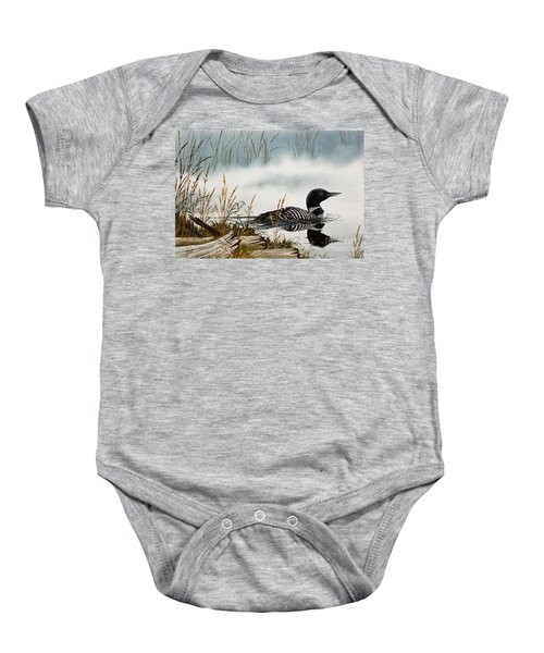 Loons Misty Shore Baby Onesie by James Williamson