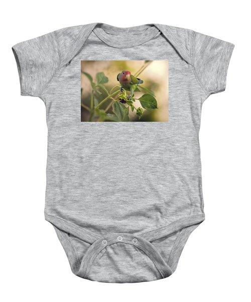 Lovebird On  Sunflower Branch  Baby Onesie by Saija  Lehtonen