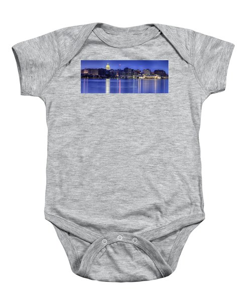 Madison Skyline Reflection Baby Onesie by Sebastian Musial