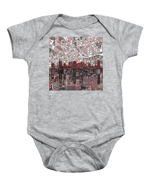 Nashville Skyline Abstract 3 Baby Onesie by Bekim Art