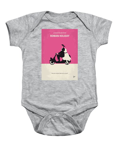 No205 My Roman Holiday Minimal Movie Poster Baby Onesie by Chungkong Art