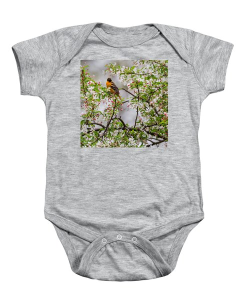 Oriole In Crabapple Tree Square Baby Onesie by Bill Wakeley