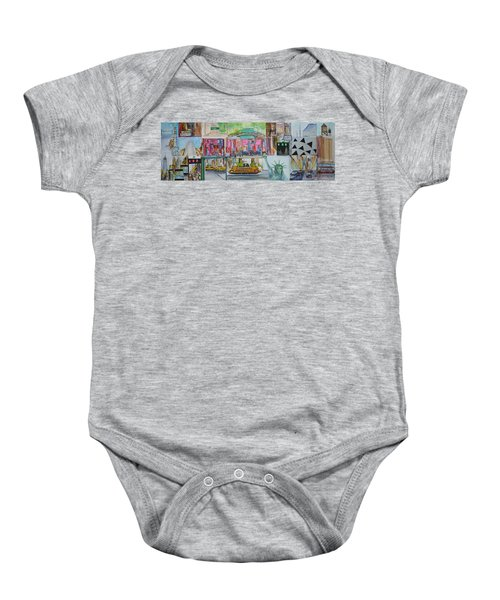 Postcards From New York City Baby Onesie by Jack Diamond