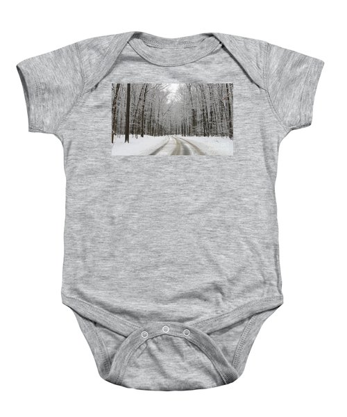 Snowy Road In Oak Openings 7058 Baby Onesie by Jack Schultz