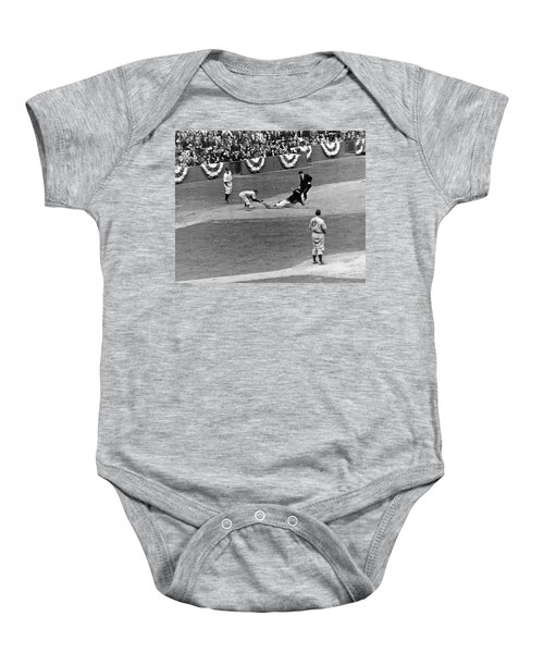 Spud Chandler Is Out At Third In The Second Game Of The 1941 Wor Baby Onesie by Underwood Archives