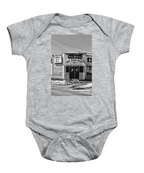 Stone Pony In Black And White Baby Onesie by Paul Ward