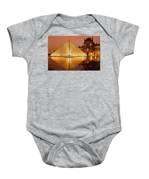 The Louvre By Night Baby Onesie by Ayse Deniz