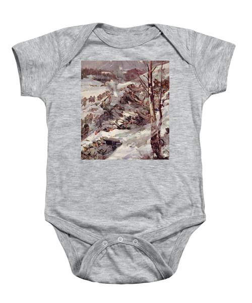 The Russians Fighting Their Way Over The Carpathians Baby Onesie by Cyrus Cuneo