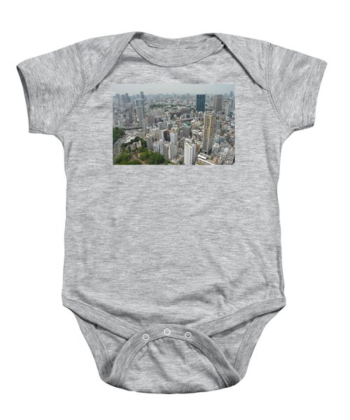 Tokyo Intersection Skyline View From Tokyo Tower Baby Onesie by Jeff at JSJ Photography