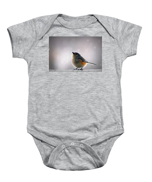 Tufted Titmouse Baby Onesie by Cricket Hackmann