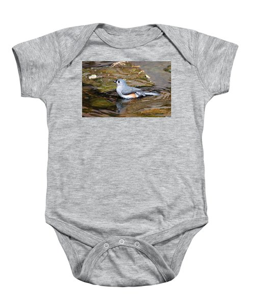 Tufted Titmouse In Pond II Baby Onesie by Sandy Keeton