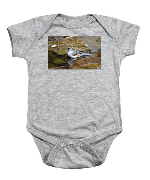 Tufted Titmouse In Pond Baby Onesie by Sandy Keeton