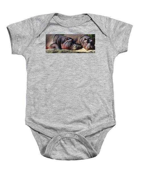 Two Hippos Sleeping On Riverbank Baby Onesie by Johan Swanepoel