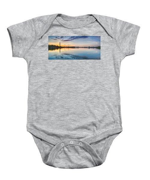 Washington Dc Panorama Baby Onesie by Sebastian Musial
