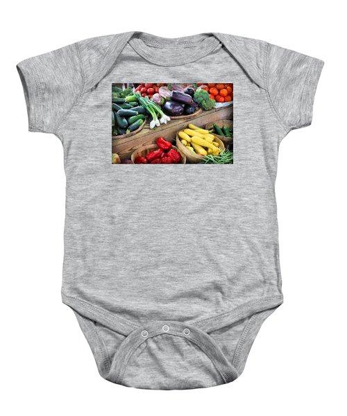 Farmers Market Summer Bounty Baby Onesie by Kristin Elmquist