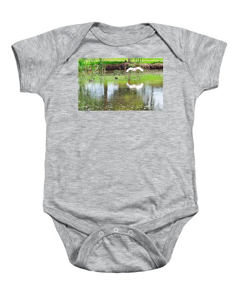 Ibis Over His Reflection Baby Onesie by Kaye Menner