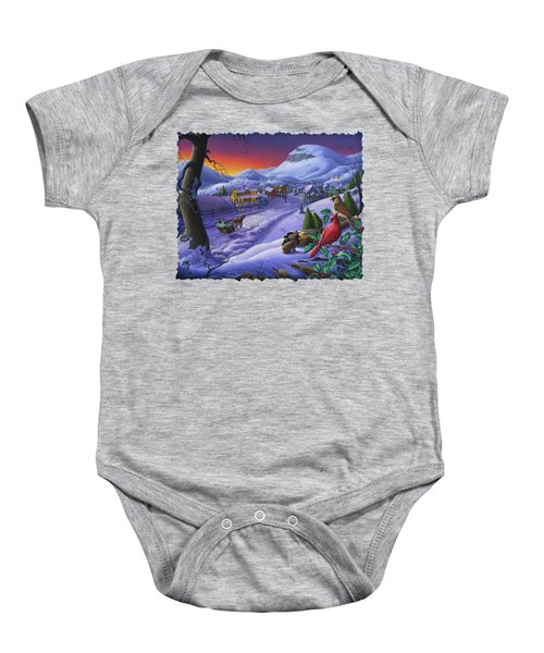 Christmas Sleigh Ride Winter Landscape Oil Painting - Cardinals Country Farm - Small Town Folk Art Baby Onesie by Walt Curlee