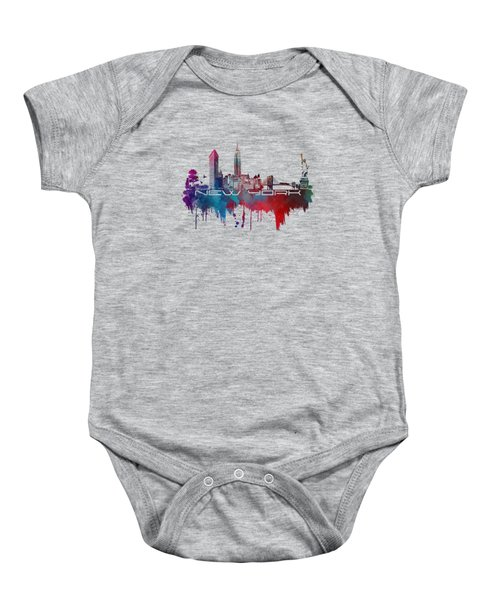 New York City Skyline Blue Baby Onesie by Justyna JBJart