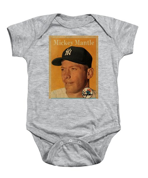 1958 Topps Baseball Mickey Mantle Card Vintage Poster Baby Onesie by Design Turnpike