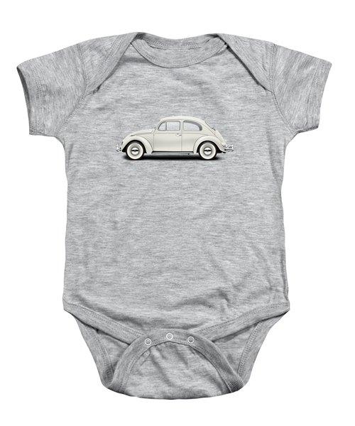 1961 Volkswagen Deluxe Sedan - Pearl White Baby Onesie by Ed Jackson