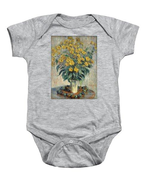Jerusalem Artichoke Flowers Baby Onesie by Claude Monet