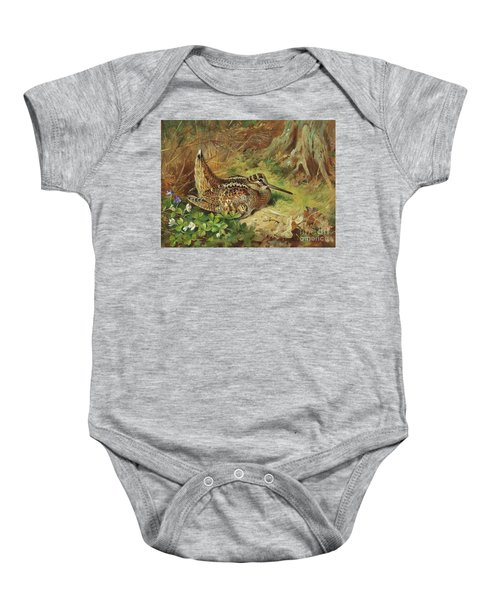 A Woodcock And Chicks Baby Onesie by Archibald Thorburn