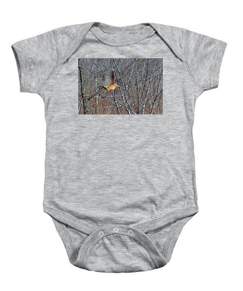 American Woodcock In Takeoff Flight Baby Onesie by Asbed Iskedjian
