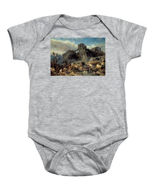 Animals Leaving The Ark, Mount Ararat  Baby Onesie by Filippo Palizzi
