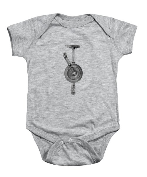 Antique Shoulder Drill Front Bw Baby Onesie by YoPedro