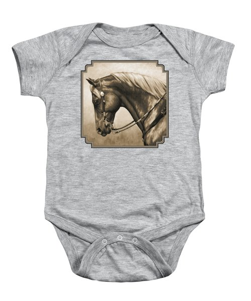 Western Horse Painting In Sepia Baby Onesie by Crista Forest