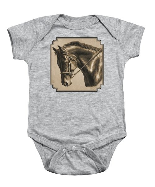Horse Painting - Focus In Sepia Baby Onesie by Crista Forest