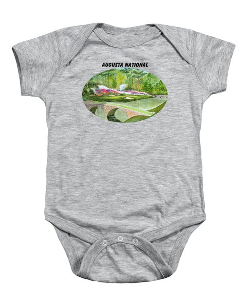 Augusta National Golf Course With Banner Baby Onesie by Bill Holkham