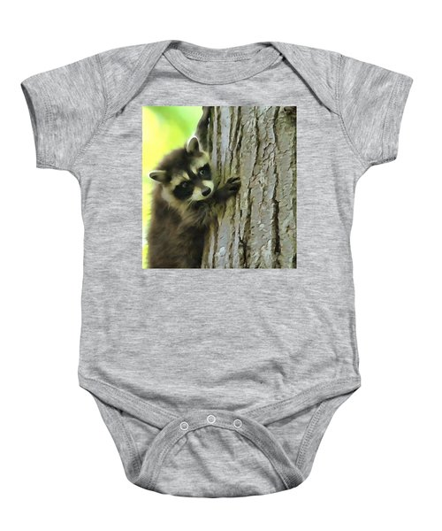 Baby Raccoon In A Tree Baby Onesie by Dan Sproul