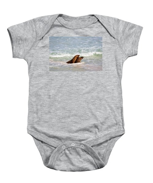 Battle For The Beach Baby Onesie by Mike  Dawson