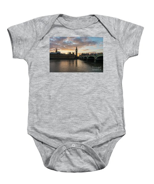 Big Ben London Sunset Baby Onesie by Mike Reid