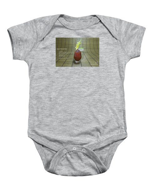 Bloody Mary, Bloody Caesar, Tomato Juice Baby Onesie by Karen Foley