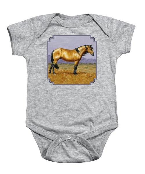 Buckskin Mustang Stallion Baby Onesie by Crista Forest