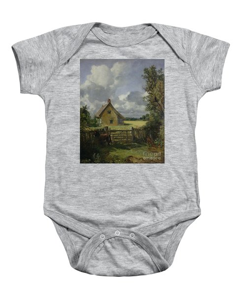 Cottage In A Cornfield Baby Onesie by John Constable