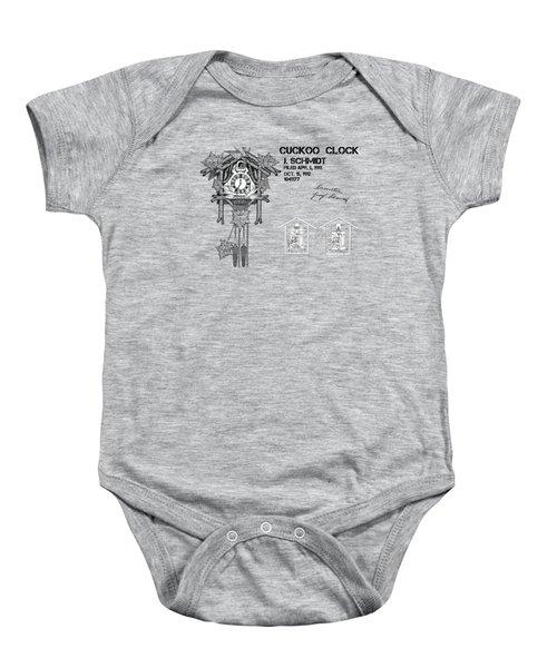 Cuckoo Clock Patent Art Baby Onesie by Justyna JBJart
