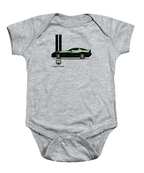 Dodge Viper Snake Green Baby Onesie by Mark Rogan