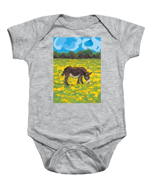Donkey And Buttercup Field Baby Onesie by Sarah Gillard