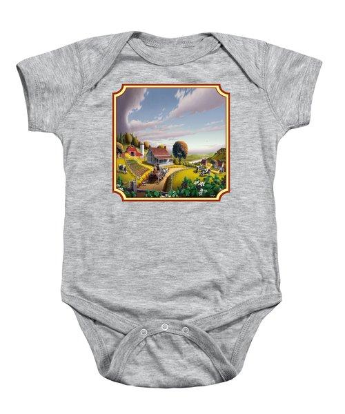 Farm Americana - Farm Decor - Appalachian Blackberry Patch - Square Format - Folk Art Baby Onesie by Walt Curlee