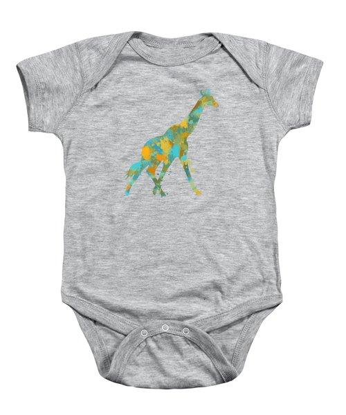 Giraffe Watercolor Art Baby Onesie by Christina Rollo