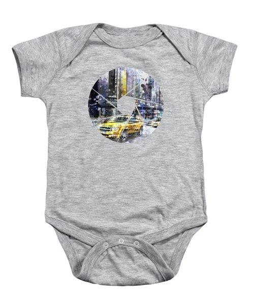 Graphic Art New York City Taxis And Manhattan Skyline Baby Onesie by Melanie Viola