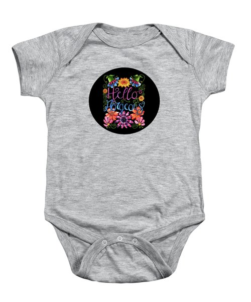 Hello Gorgeous Black  Baby Onesie by Shelley Wallace Ylst