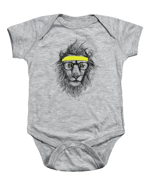 Hipster Lion Baby Onesie by Balazs Solti