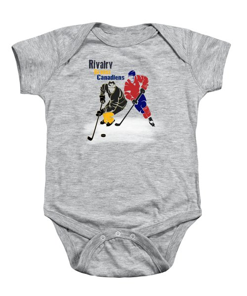 Hockey Rivalry Bruins Canadiens Shirt Baby Onesie by Joe Hamilton
